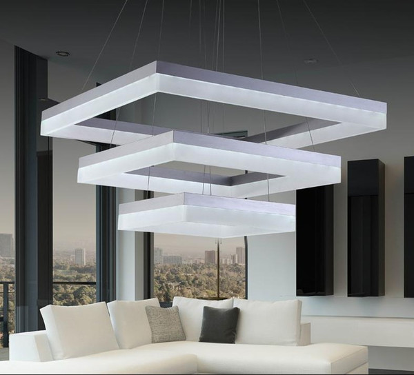 New Design LED Chandeliers Contemporary LED Hanging Lamp For Living Room  Led Acrylic Rectangle Chandelier LLFA Hanging Light Shades Bedroom Hanging  ...