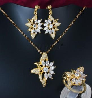 wonderful low price high quality diamond crystal gold filled flower lady's necklace earings set 45fdf