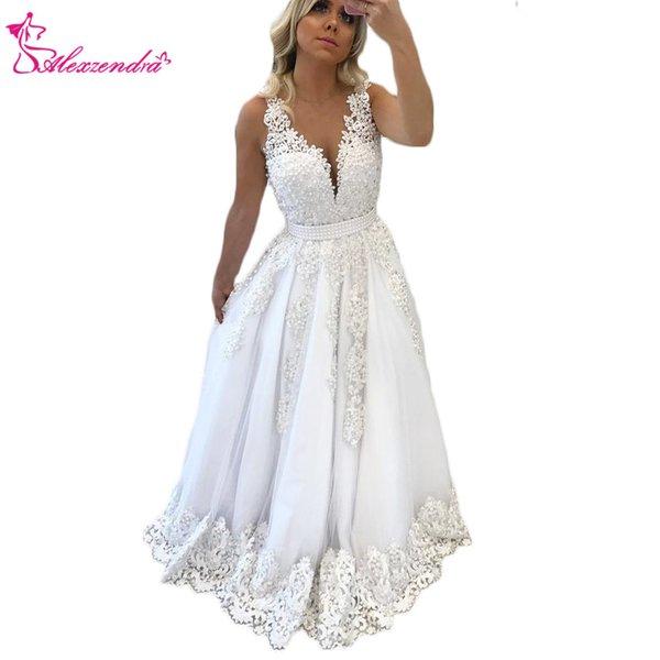 Alexzendra Branco V Neck New Prom Vestidos Applique Pérolas Longo Formal Evening vestido de festa Vestidos Custom Made