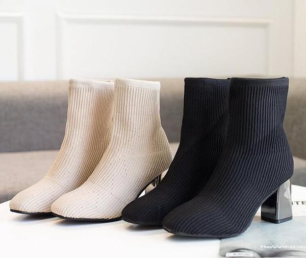 Calze da donna da uomo Stivali 2019 New Fashion British Elastic Cloth in microfibra con stivali Martin nel tallone a tubo
