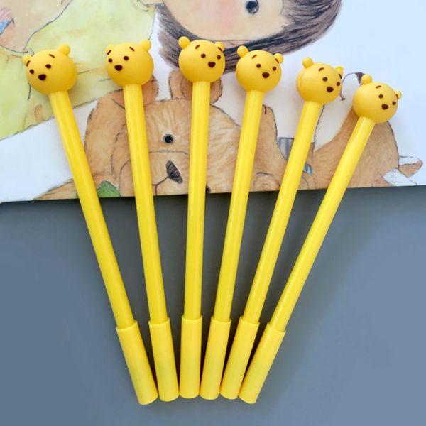 top popular Cute yellow bear gel pen 0.5mm black children Writing Pen Office Eexamination Limited Office Material School Supplies wholesale Free E-PACK 2019