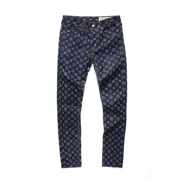 Homens verão calças curtas faixa suor calças jeans reta dos homens Edison tendência tendência hip hop letras do emblema grande M jeans