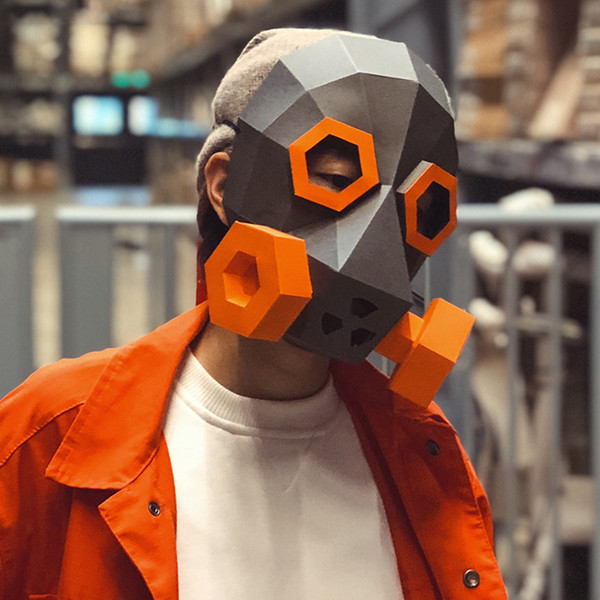 Steampunk gas mask vibrating industrial wind photography props paper handmade original design bar Party Masks Bauta Mask