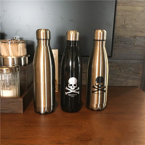 2 adet / grup 500 ml Yaratıcı Siyah Ve Gümüş Paslanmaz Çelik Kafatası Bowling Termal Yalıtım Şişesi Kola Şişesi Şekli Su Şişesi
