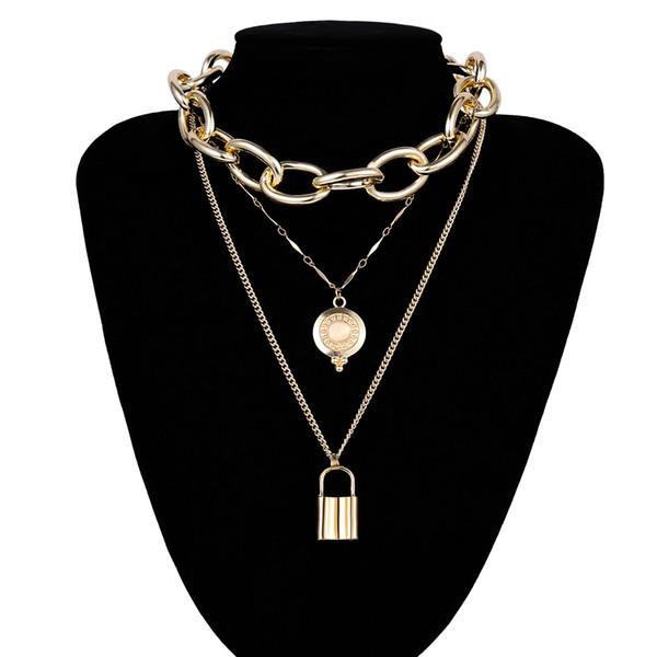 Утрированный металл панк цепи женщина ожерелье горного хрусталь кристалл ожерелье блокировки многослойного