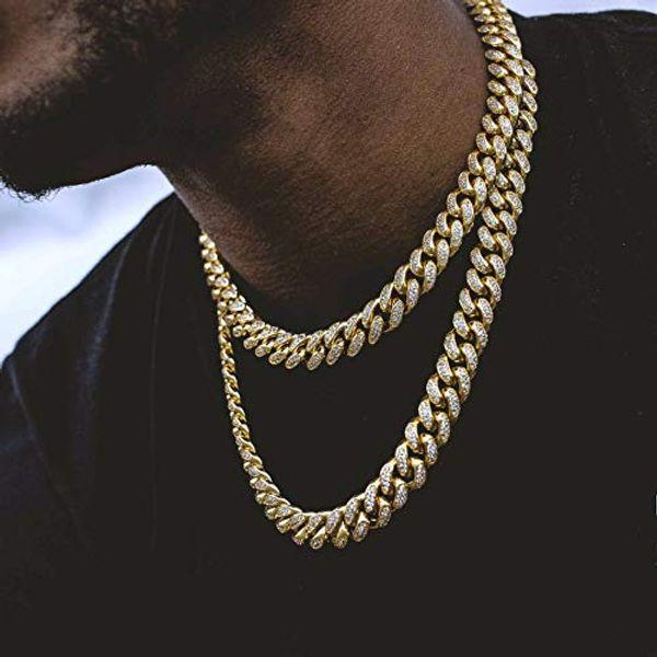 Collana con catena a maglie a forma di cubo con choker cubico di Zircon Lab Diamond Big Dog Miami, placcato in oro 14K