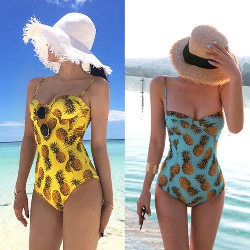 Kayış Monokini Tek Parça Mayo Ananas Kadınlar Mayo Bandaj Bikini Şınav Yastıklı Mayo Beachwear Sarı Mavi