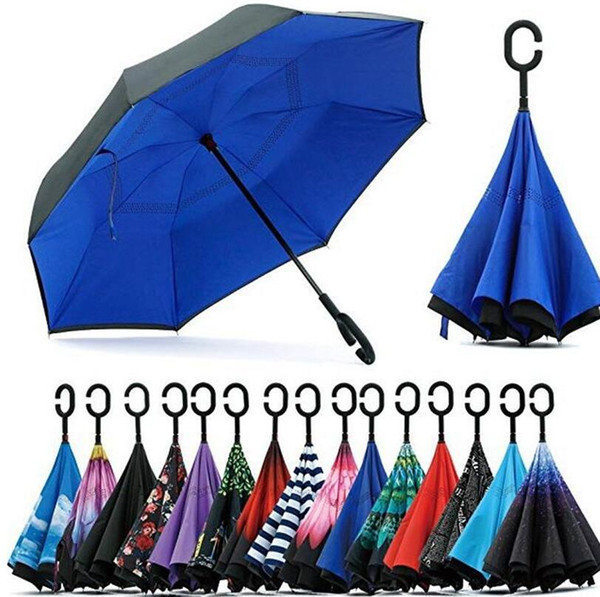 best selling Reverse Umbrella C Handle Windproof Reverse Sunscreen Rain Protection Umbrellas Fold Double-layer Inverted Household Sundry Rain Gear LSK167