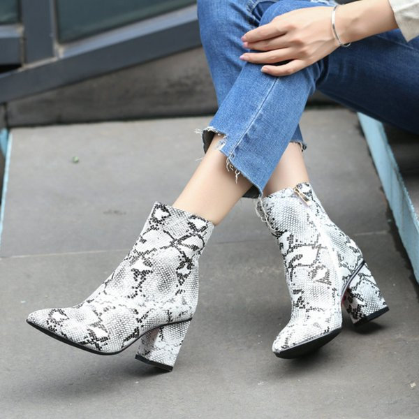 Snake Print Ankle Boots For Women Block High Heel Boots Zipper Pointy Toe Women Party Dress Boot Woman Shoes White 2019 Girls Boots Black Ankle Boots