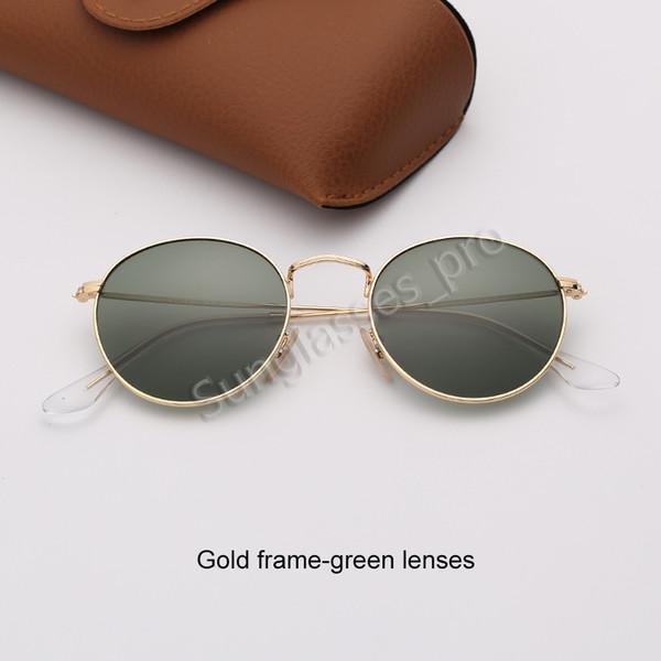 Золотая рамка-зеленые линзы