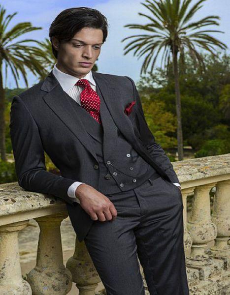 Hot Sell Slim Fits Groom Tuxedos Notch Lapel Mens Coat Prom Blazers Business Suits (Jacket+Pants+Vest+Tie) W:020
