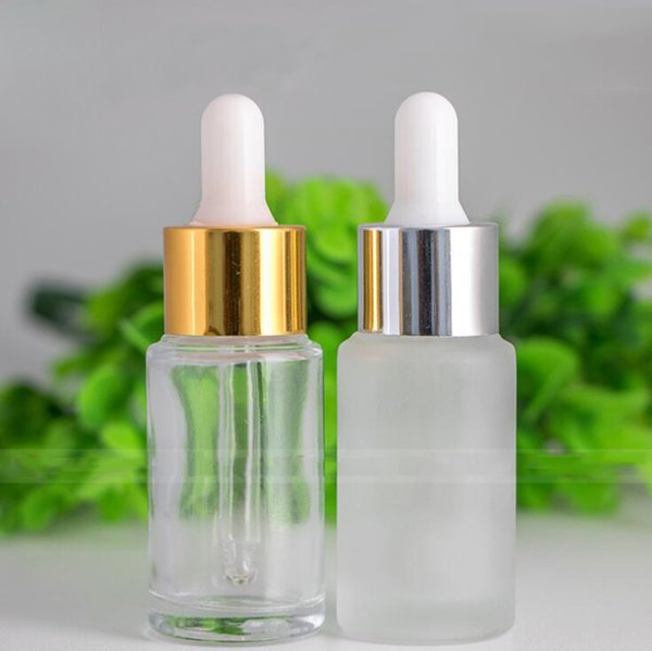 Hot Sale Frosted Clear Round glass serum dropper bottles 20ml E liquid Glass Cosmetic Bottle With Gold Silver Cap In Stocks