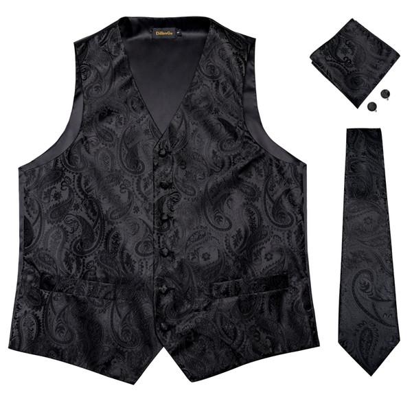 Hi-Tie Men's Classic Black Flaoral Jacquard Silk Waistcoat Vest Handkerchief Cufflinks Party Wedding Tie Vest Suit Set MJTZ-0109