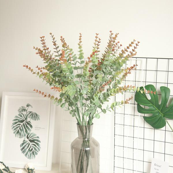 Simulação de folhas verdes de plástico artificial galho de árvore de eucalipto para decoração de casamento de natal flor falsa