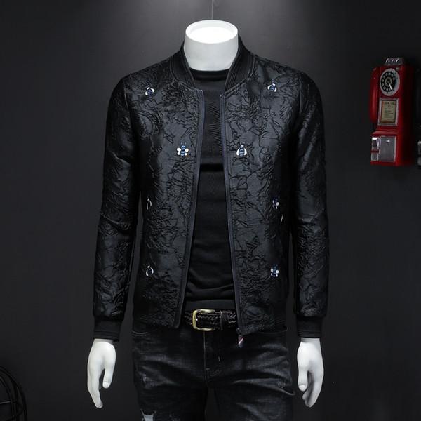 veste hommes brodé 2019 printemps et en automne section mince personnalité veste mode casual robe masculine de marée uniforme de baseball