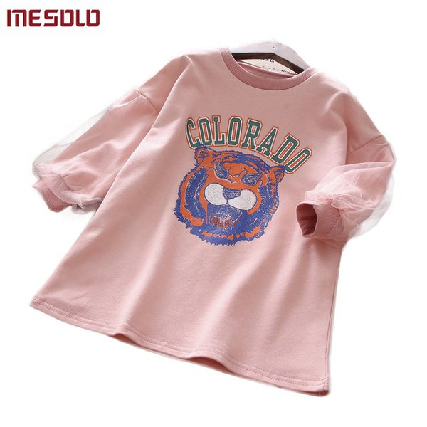 good quality Han edition in the children's wear cute tiger lantern sleeve spring new children who dress J6103 long T-shirt B