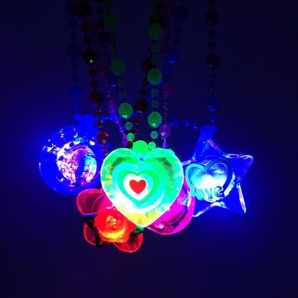 아크릴 LED 목걸이 라이트 업 목걸이 장난감 어린이 어린이 참신 깜박임 할로윈 클럽 펍 생일 할로윈 파티