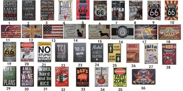 Collection de signes d'étain Shell Route 66 Vintage Wall Art Art RetroTIN SIGN Vieux mur peinture en métal ART Bar Man Cave Pub Restaurant Décoration de la maison