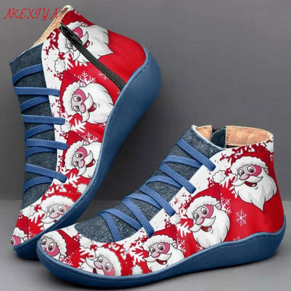 Rétro Bottes d'hiver Femmes neige Bottines Chaussures en cuir de Noël lacent Chaussures plates Bottes Femme Court Marron