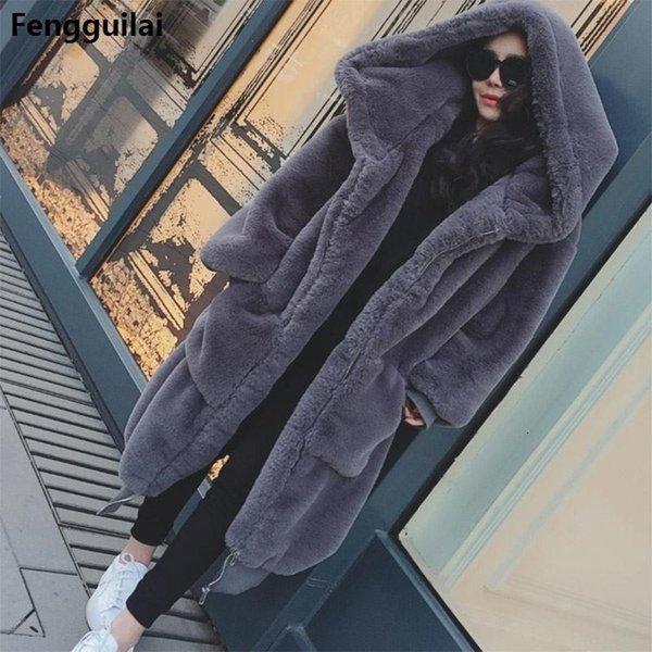 Inverno caldo incappucciati grandi dimensioni di lunghezza media di colore solido di eco-pelliccia delle donne della pelliccia 2018 New maniche lunghe casuale delle donne Cappotto di pelliccia T191029