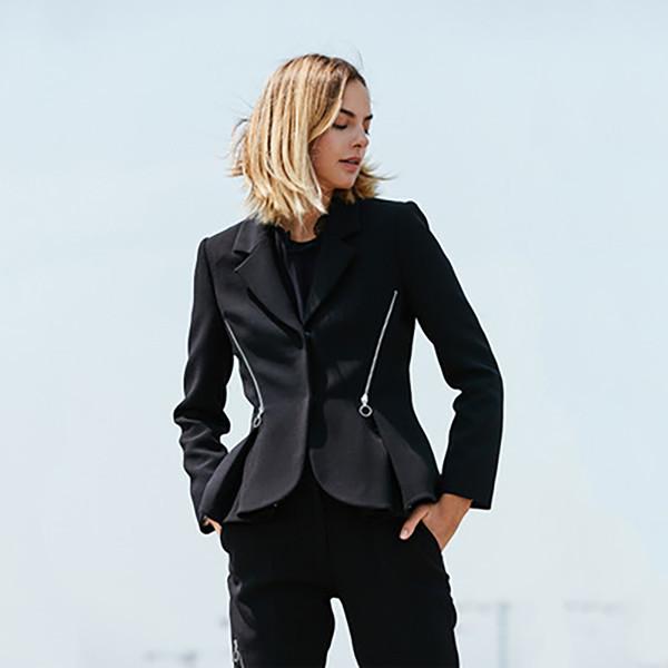 Outerwear Jacket Blazer Women Elegant 2019 Black Blazer Femme Vintage Gothic Hat Office Lady Chaqueta Vintage Woman Clothes 026