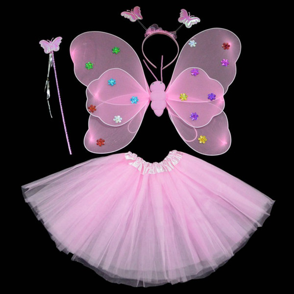 2018 Dance Party Costumes Cosplay Fairy Princess enfants Butterfly Wings + Baguette + Bandeau + Tutu Jupe New