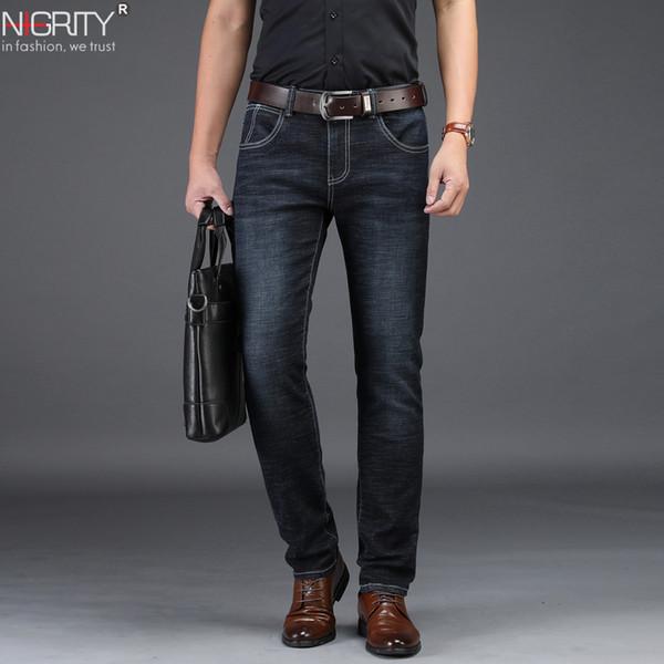 NIGRITY 2019 Nuovi jeans da uomo Jeans casual eleganti Jeans elasticizzati a gamba dritta a vestibilità regolare 8932 Pantaloni lunghi elasticizzati Taglia grande 42MX190904