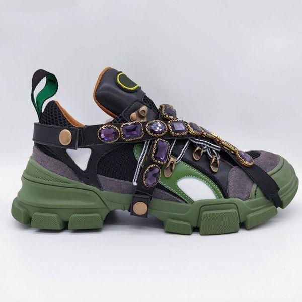 Новейшие кроссовки Flashtrek со съемными кристаллами Мужская роскошная дизайнерская обувь Повседневная мода Роскошные дизайнерские женские кроссовки Размер 35-45