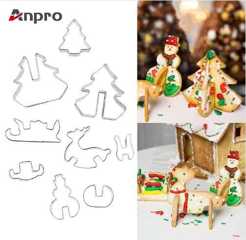 Anpro 16PCS 3D Cookie Cutters Christmas Biscuit Mold Stainless Steel Varied Patterns DIY Cake Baking Pastry Tools for Xmas Party