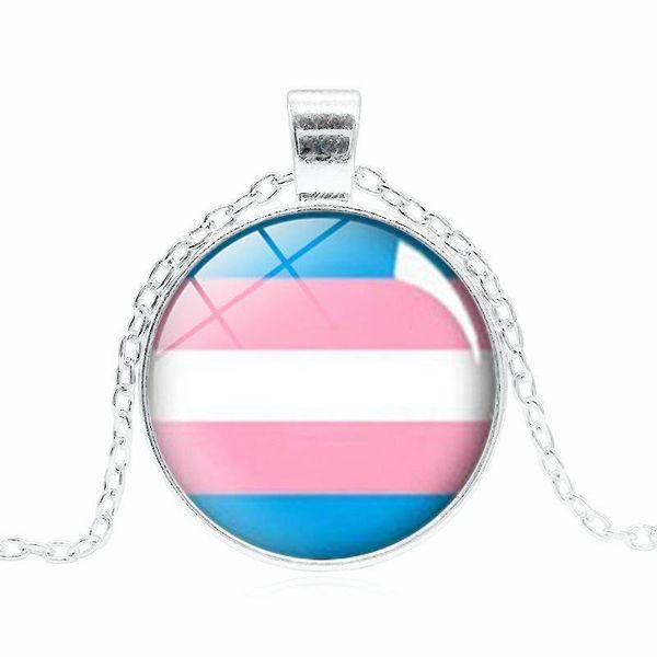 Nouveau signe LGBT colliers motif arc-en-ciel cabochons chaînes pendentif en verre pour gay bisexuels transsexuels fierté bijoux de mode cadeau en vrac