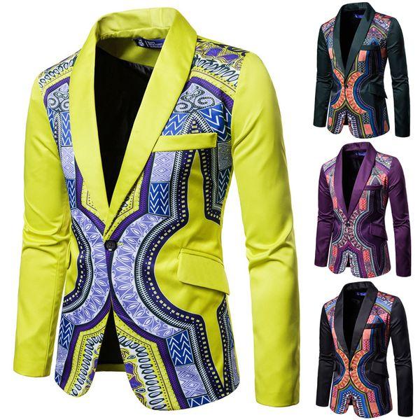 Повседневный Business Тонкого Блейзер костюмы Мужского Хлопок одной кнопка Ветер Национальной печать Blazer пиджак для молодой партии M-3XL