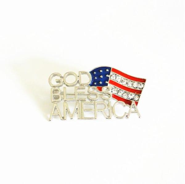 Nouveaux bijoux goutte d'huile pleine d'eau diamant broche drapeau américain lettre broche vêtements de mode en gros
