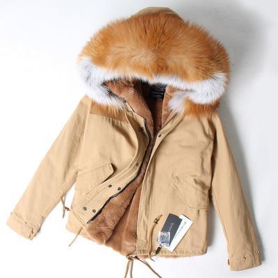 MAOMAOKONG brand snow women coats YKK ZIPPER brown white raccoon fur trim hoody brown rabbit fur lining khaki mini furs parkas
