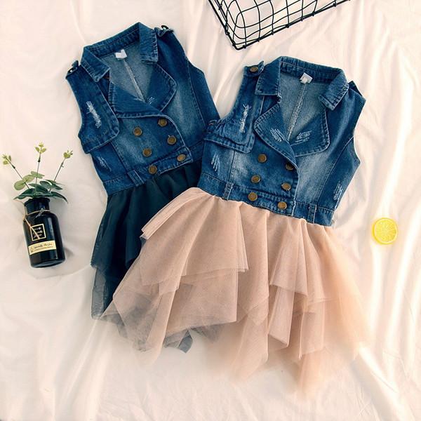 Baby Denim sleeveless dress girls lace Tulle cowboy Princess Vest dresses 2018 summer Boutique Kids Clothing B11