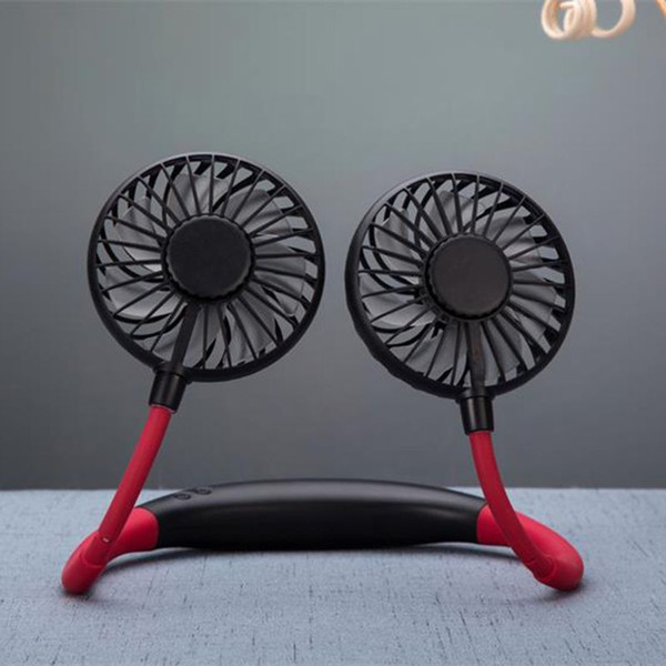 top popular Mini Hand Free Small Fan Battery Mini Portable Fan with Colorful Lights Two Fans Hanging Around The Neck for Sport 2021