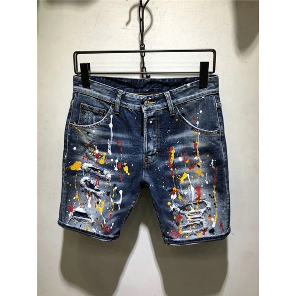 Coated Hot Summer 2019 Boutique Men's High-quality Leisure Cowboy Shorts Hole Male Elastic Shorts / Men Casual Jeans