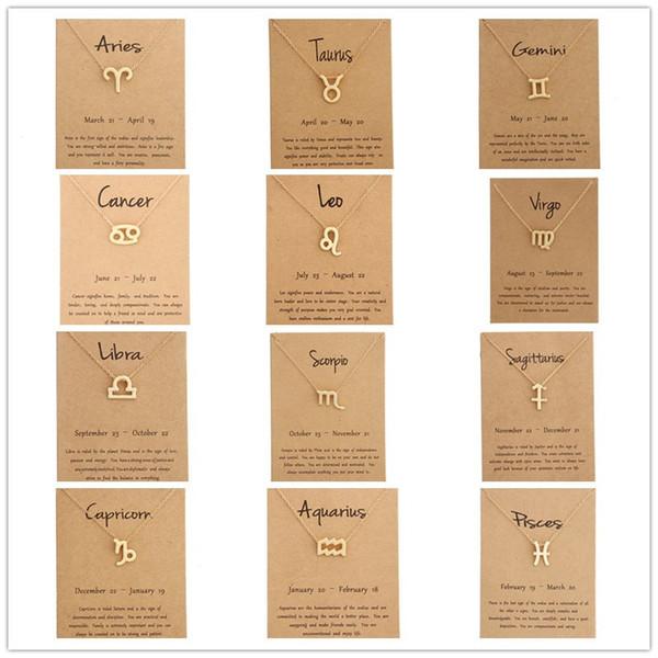 Caldo 12 collane zodiaco con segno di costellazione di carte regalo Catene in oro Collana per uomo Gioielli moda donna in massa
