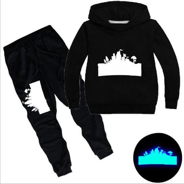Designer Baby Clothing Children Tracksuit big Boy Luminous Hoodies Baby Sweater Shirt + pants 2pcs Suit Kids Girls Outfits 3-14Y CQZ172B
