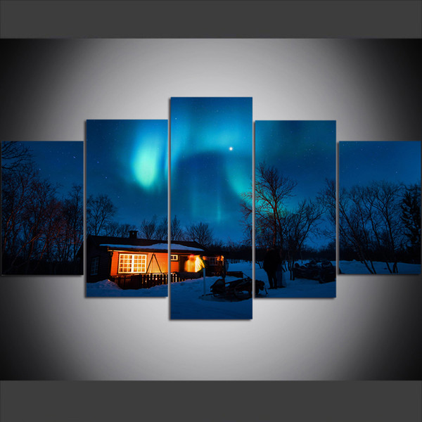 5 Piece Large Size Canvas Wall Art Pictures Creative Cabin Under Aurora Art Print Oil Painting for Living Room Home Decor