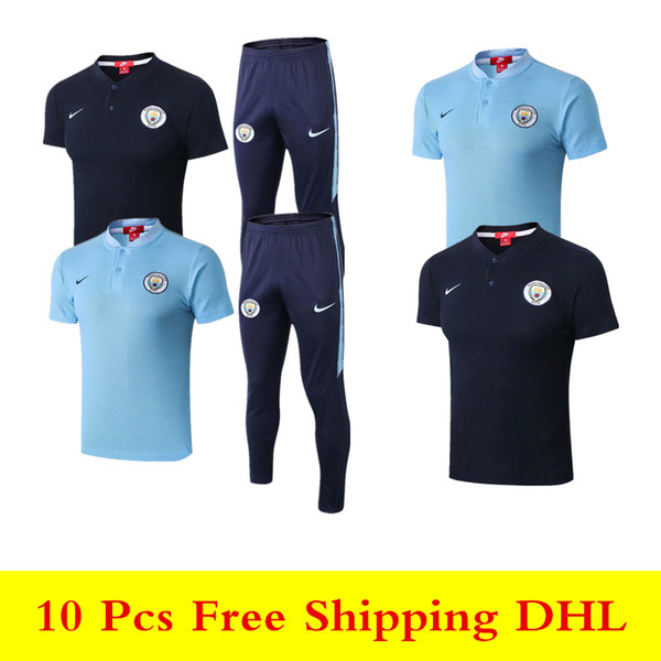 top popular Best quality new 18 19 Man City Polo shirts 2019 City blue tracksuits MAHREZ soccer jersey STERLING SANE short sleeve training suit 2019