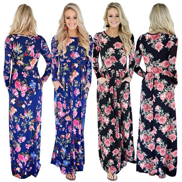 Toptan Kadınlar Bohemian Elbiseler Maxi Gül Elbise Uzun Parti Plaj Yaz Giyim Boho Çiçek Baskı o-boyun Uzun Kollu Etek