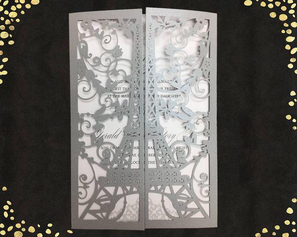Elegant Silver Eiffel Tower Paris Laser Cut Wedding Invites Quinceanera Invitations Sweet 15 Invitation Cards Personalized Printing