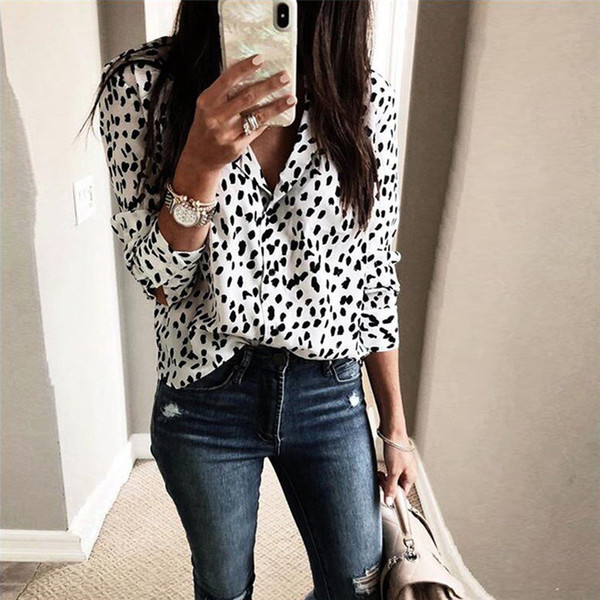 hellogoodgirl / Mulheres Moda Long Sleeve Leopard Blusa decote em V shirt do partido das senhoras Top Dames Streetwear blusas Femininas elegante Plus Size