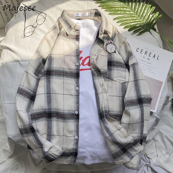 Рубашки мужские отложным воротником в клетку карманы досуг простой все-корейский стиль рубашка Ulzzang мужские свободные модные рубашки одежда