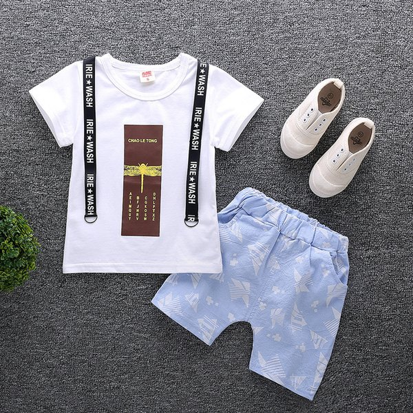 Summer 2019 New Fashion Cotton Tops + Shorts 2pcs Set Boys Outfit Costumes Children Clothing Set Baby Boy Clothes