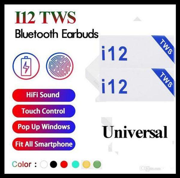 I12 tw bluetooth 5 0 wirele bluetooth headphone upport pop up window earphone colorful touch control wirele head et earbud dhl 2019