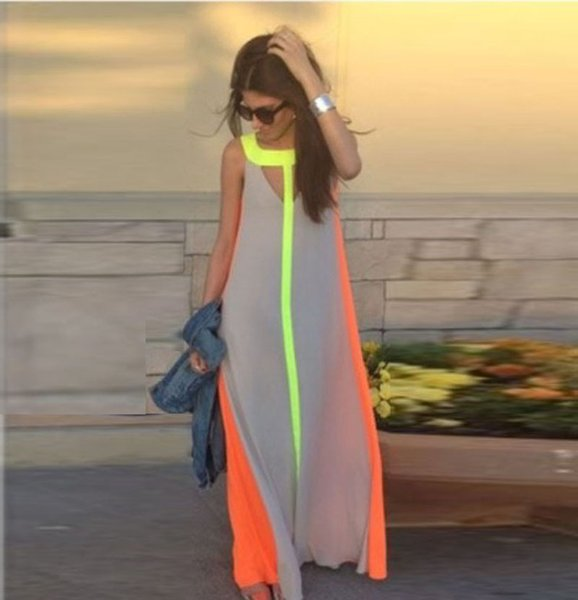 Fahion Chiffon Bright Color Patchwork Casual Dresses Sleeveless Sundress Loose Long Dress Cheap Women Summer Boho Maxi Dresses wholesale