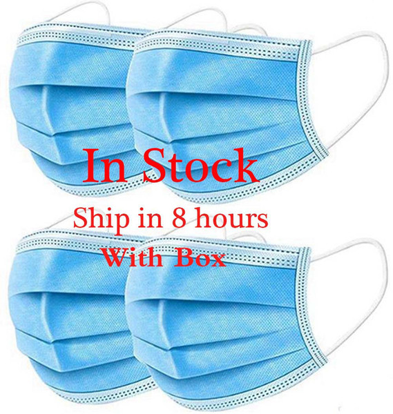 top popular In Stock!Disposable Face Masks with Elastic Ear Loop 3 Ply Breathable and Comfortable for Blocking Dust Air Pollution Protection Pack 2020
