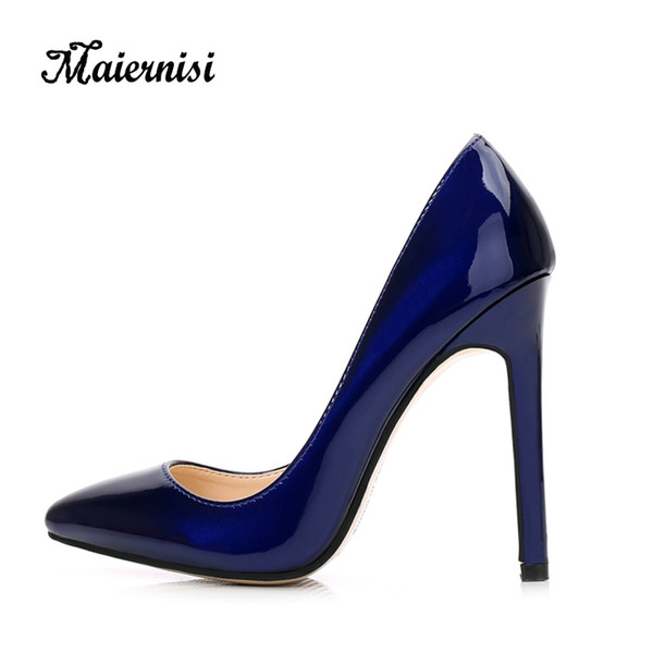 2019 Dress MAIERNISI New Fashion High Heels Women Pumps Thin Heel Classic Sexy Prom Wedding Shoes Office Women Shoes Big Size 35-46 Leather