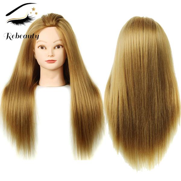 Rebeauty Saç Eğitim Baş 22 Inç Sarışın Yaki Düz Sentetik Saç Profesyonel Gelin Kuaförlük Kozmetoloji Doll Başkanı Renk # 27